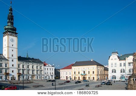 LITOVEL, CZECH REPUBLIC -NOVEMBER 14, 2015: View of the square in Litovel, left city hall with clock tower, Czech Republic