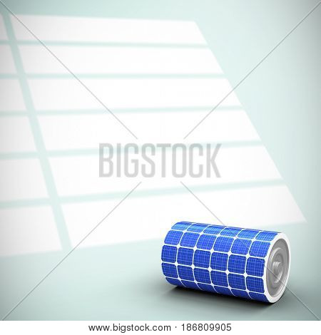 Vector image of 3d solar power battery against squares on bright background