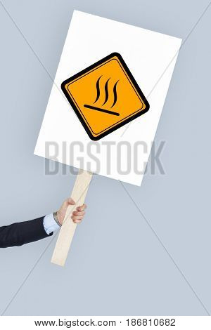 Studio Shoot Holding Banner with Hot Surface Sign