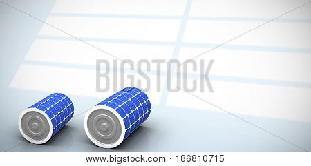 Vector image of 3d solar battery against white squares on blue background