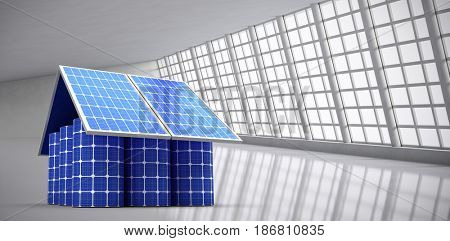 3d image of model home made from solar panels and cells against abstract room
