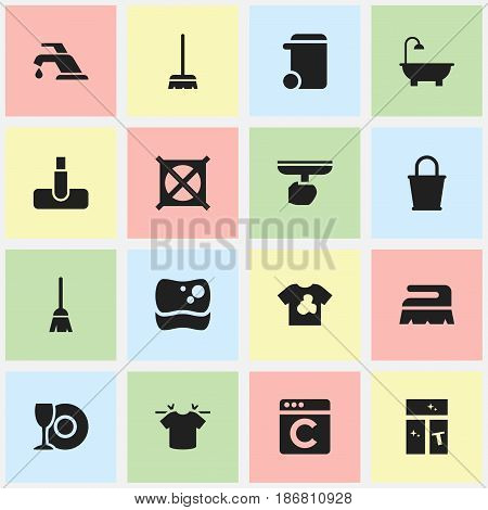 Set Of 16 Editable Dry-Cleaning Icons. Includes Symbols Such As Dustbin, Broomstick, No Laundry And More. Can Be Used For Web, Mobile, UI And Infographic Design.