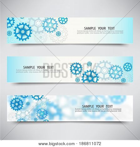 Set of three banners with blue gears Technology background