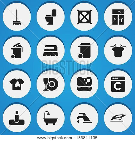 Set Of 16 Editable Hygiene Icons. Includes Symbols Such As Whisk, Bathroom, Unclean Blouse And More. Can Be Used For Web, Mobile, UI And Infographic Design.
