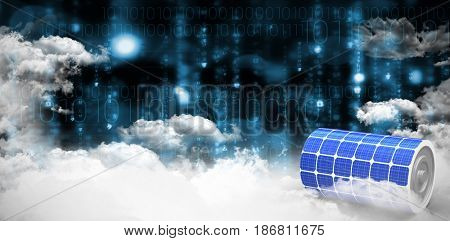 Vector image of 3d solar power battery against clouds over binary coded screen