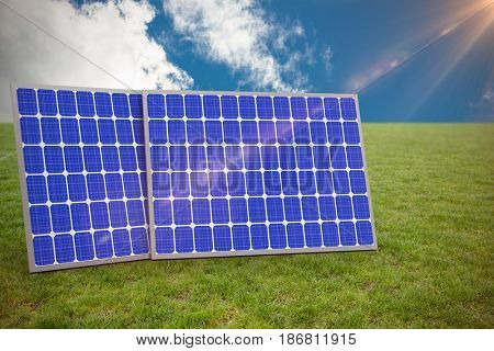 Digitally generated image of 3d solar panels against low angle view of sky