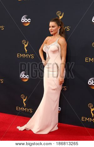 LOS ANGELES - SEP 18:  Sofia Vergara at the 2016 Primetime Emmy Awards - Arrivals at the Microsoft Theater on September 18, 2016 in Los Angeles, CA