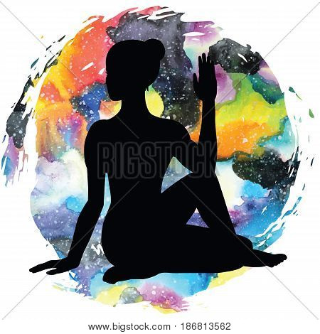 Women silhouette on galaxy astral background. Half Lord of Fishes Yoga Pose. Ardha Matsyendrasana. Vector illustration