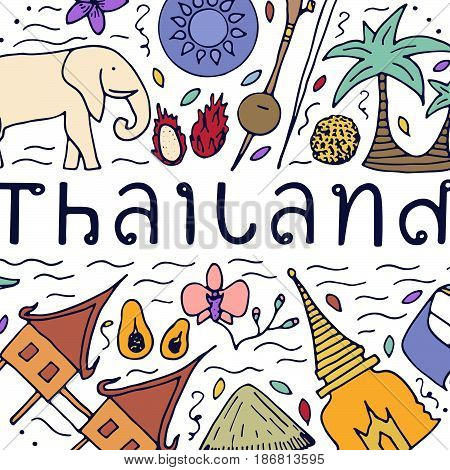 Culture Of Thailand. Hand Drawn Design Concept With The Main Attractions Of Thailand.