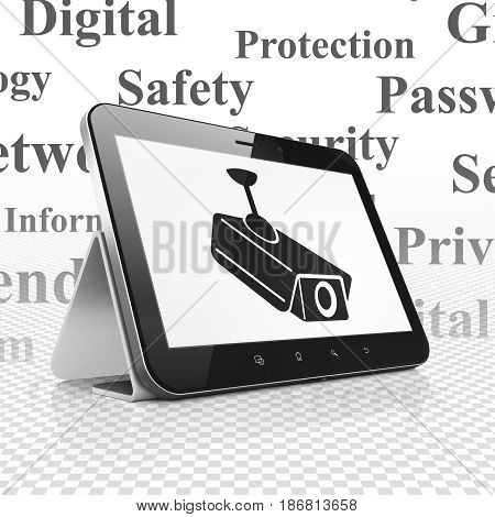 Security concept: Tablet Computer with  black Cctv Camera icon on display,  Tag Cloud background, 3D rendering