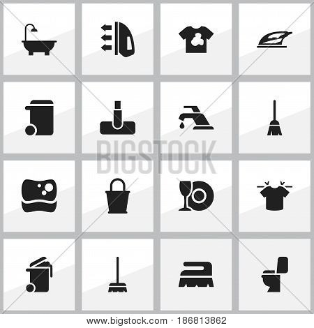 Set Of 16 Editable Dry-Cleaning Icons. Includes Symbols Such As Hoover, Unclean Blouse, Dustbin And More. Can Be Used For Web, Mobile, UI And Infographic Design.