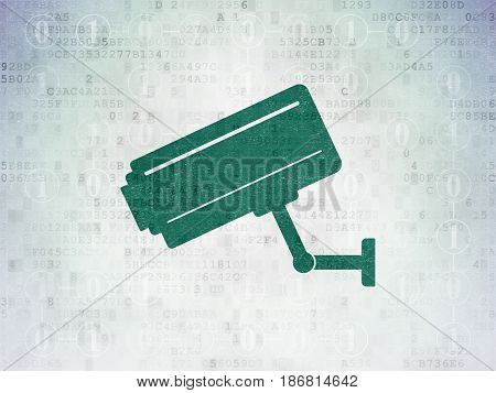 Safety concept: Painted green Cctv Camera icon on Digital Data Paper background with Scheme Of Binary Code