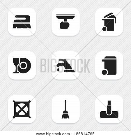 Set Of 9 Editable Cleaning Icons. Includes Symbols Such As Dustbin, Broomstick, Container And More. Can Be Used For Web, Mobile, UI And Infographic Design.
