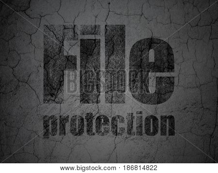 Security concept: Black File Protection on grunge textured concrete wall background