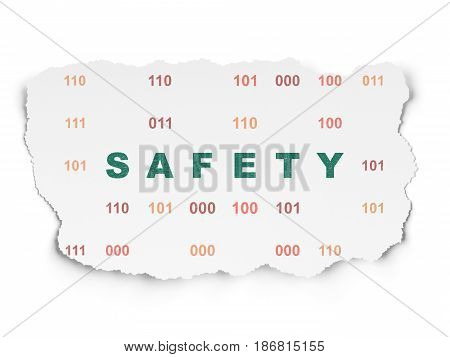 Security concept: Painted green text Safety on Torn Paper background with  Binary Code