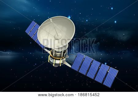 High angle view of 3d solar power satellite against stars twinkling in night sky