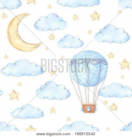 Watercolor Seamless Pattern - Air Balloon, Moon And Stars. Ideas For A Children's Room. Baby Shower