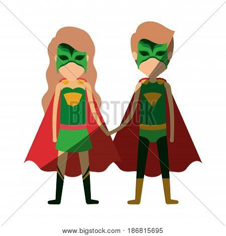 colorful silhouette with faceless duo of superheroes united of the hands and her with long wavy hair and shading vector illustration