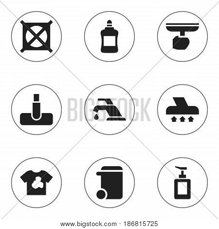 Set Of 9 Editable Cleanup Icons. Includes Symbols Such As Dustbin, Exhauster, Brush And More. Can Be Used For Web, Mobile, UI And Infographic Design.