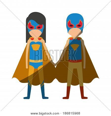 colorful silhouette with faceless duo of superheroes united of the hands and her with straight long hair and shading vector illustration