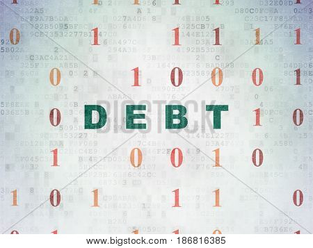 Business concept: Painted green text Debt on Digital Data Paper background with Binary Code