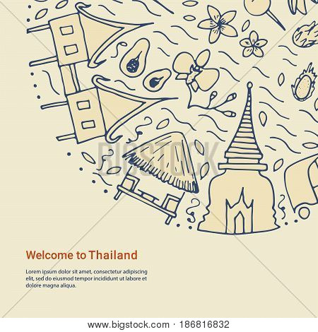 Welcome To Thailand Template. Hand Drawn Design Concept With The Main Attractions Of Thailand.