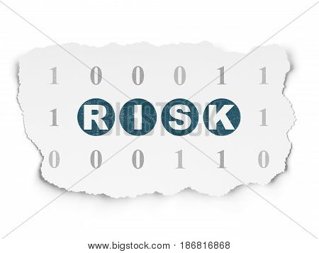 Finance concept: Painted blue text Risk on Torn Paper background with  Binary Code
