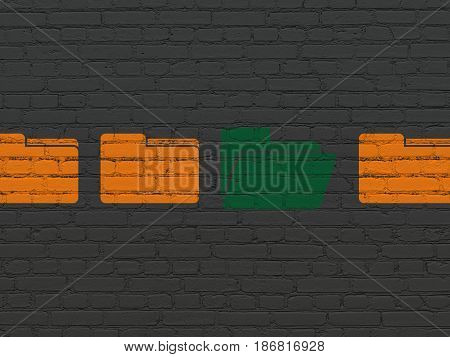 Business concept: row of Painted orange folder icons around green folder icon on Black Brick wall background