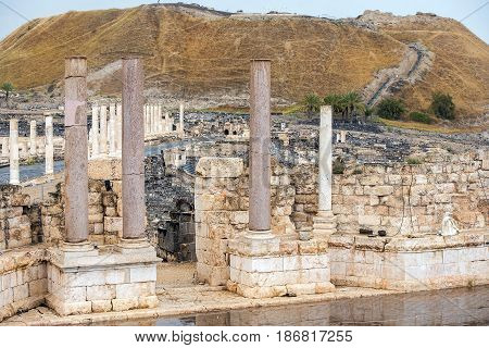 ancient street and columns in archaeological site Scythopolis, Beit Shean National Park, Israel
