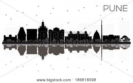 Pune skyline black and white silhouette with reflections. Simple flat concept for tourism presentation, banner, placard or web site. Cityscape with famous landmarks.