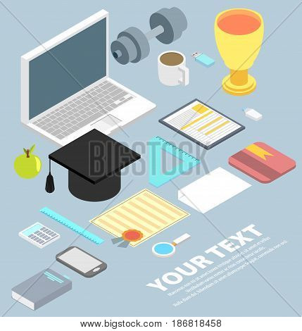 graduation cap diploma school accessories certificate colorful flat style vector illustration