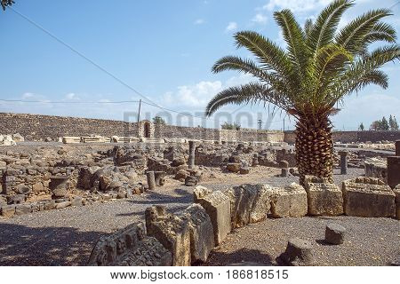 archaeological excavations on the northern shore of the Sea of Galilee, Capernaum, Israel