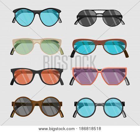 Set of hipster glasses flat elements. Flat vector