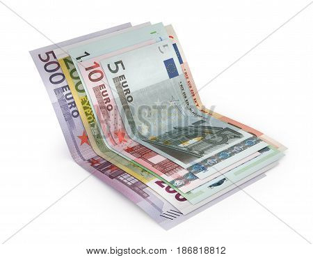Euro banknotes isolated over white with clipping path. 3d illustration