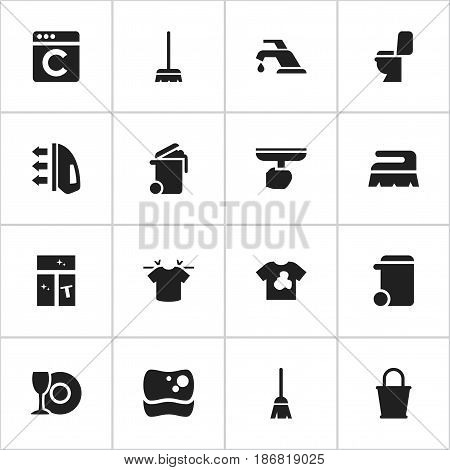 Set Of 16 Editable Dry-Cleaning Icons. Includes Symbols Such As Broomstick, Washing Tool, Unclean Blouse And More. Can Be Used For Web, Mobile, UI And Infographic Design.