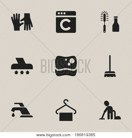 Set Of 9 Editable Cleaning Icons. Includes Symbols Such As Gauntlet, Cleanser, Whisk And More. Can Be Used For Web, Mobile, UI And Infographic Design.