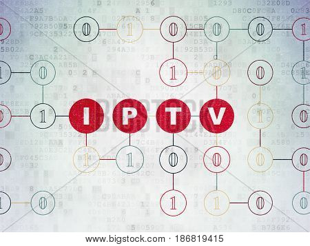 Web design concept: Painted red text IPTV on Digital Data Paper background with Binary Code