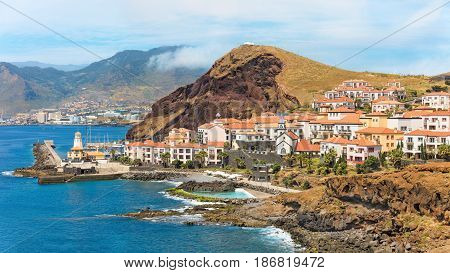 Cliff view panorama of Quinta do Lorde village near Canical in Madeira island, Portugal