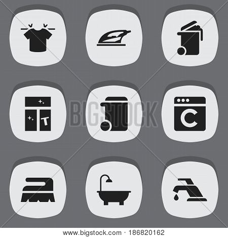 Set Of 9 Editable Hygiene Icons. Includes Symbols Such As Appliance, Dustbin, Washing Glass And More. Can Be Used For Web, Mobile, UI And Infographic Design.