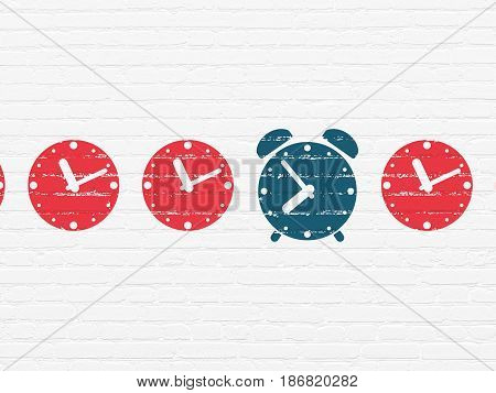 Timeline concept: row of Painted red clock icons around blue alarm clock icon on White Brick wall background