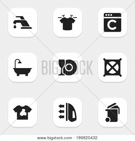 Set Of 9 Editable Hygiene Icons. Includes Symbols Such As Faucet, Unclean Blouse, Container And More. Can Be Used For Web, Mobile, UI And Infographic Design.