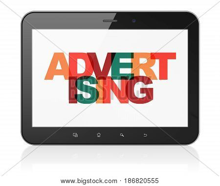 Advertising concept: Tablet Computer with Painted multicolor text Advertising on display, 3D rendering