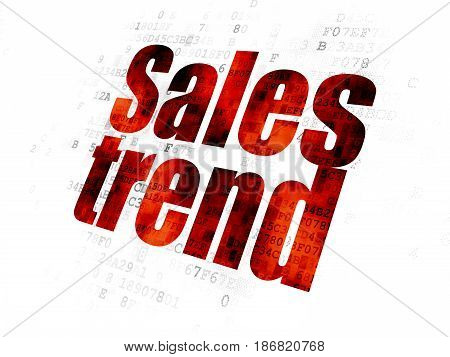 Marketing concept: Pixelated red text Sales Trend on Digital background