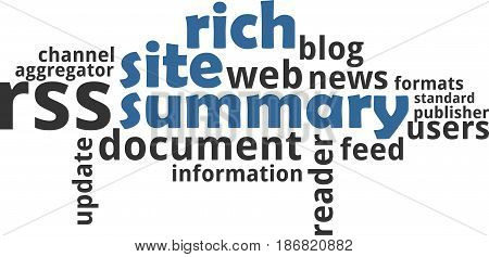 A word cloud of rich site summary related items