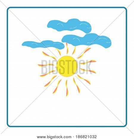 The sun sign on blue background. Orange solar mark. Bright sunny icon good mood. Isolated logo spring summer. Symbol hot warm sunlight and good weather. Flat vector image. Vector illustration.