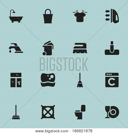 Set Of 16 Editable Hygiene Icons. Includes Symbols Such As Pail, Faucet, No Laundry And More. Can Be Used For Web, Mobile, UI And Infographic Design.