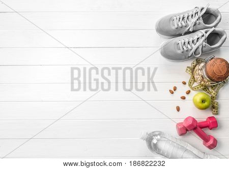 gray running shoes, oats and apples, additional space for text on side