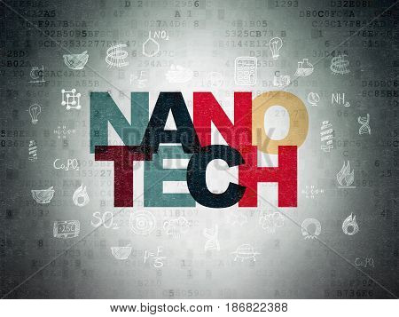 Science concept: Painted multicolor text Nanotech on Digital Data Paper background with  Hand Drawn Science Icons