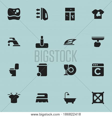 Set Of 16 Editable Hygiene Icons. Includes Symbols Such As No Laundry, Sweep, Dustbin And More. Can Be Used For Web, Mobile, UI And Infographic Design.