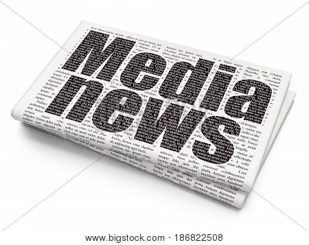News concept: Pixelated black text Media News on Newspaper background, 3D rendering